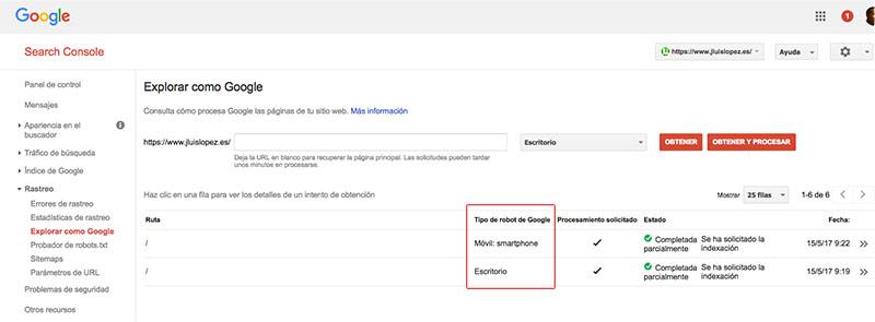 Indexación con Google Search Console