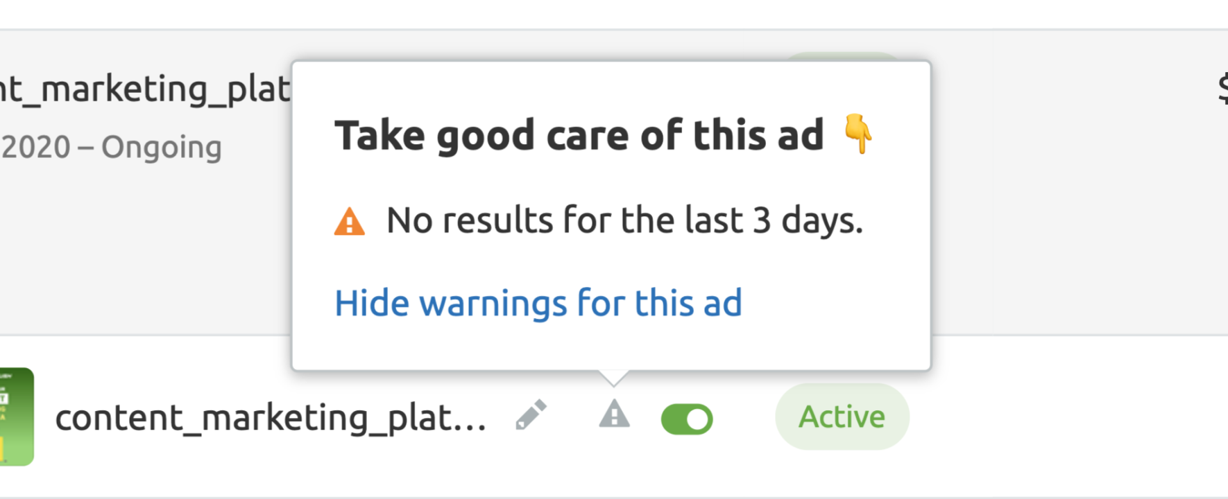 Facebook ads issues - No results for the last 3 days