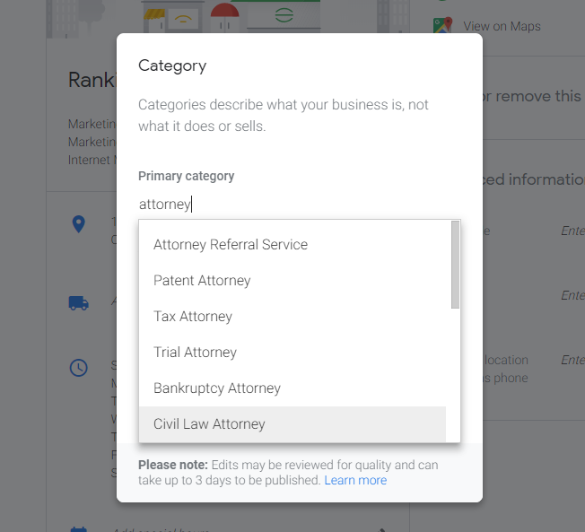 Example attorney categories in Google My Business