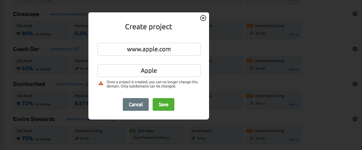 Create project using domain name