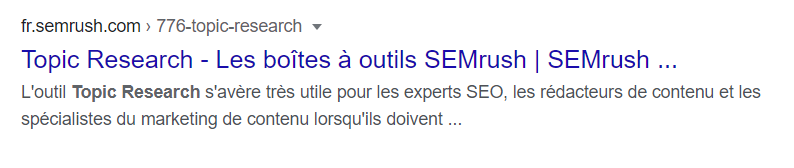 Un exemple de bonne meta description