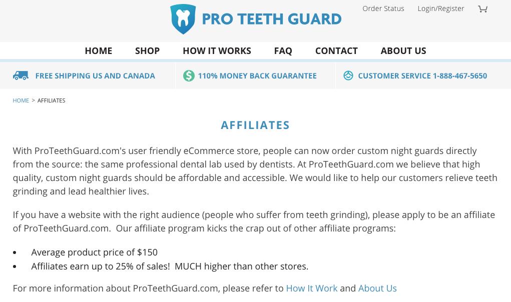 Programma di affiliazione di Proteethguard per il blog