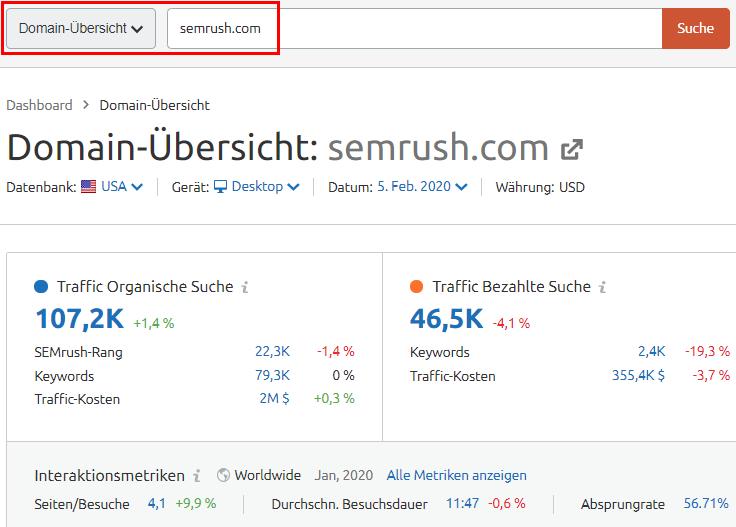 Domain-Übersicht für semrush.com