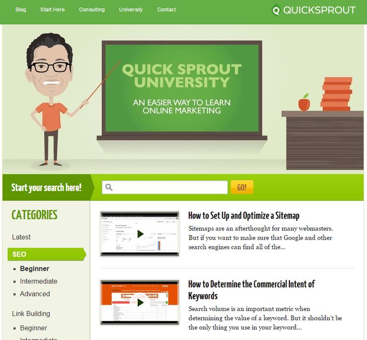 """En QuickSprout vemos una página llamada """"University"""""""