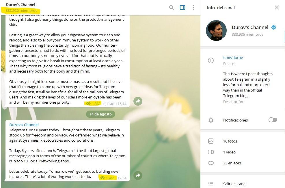 Canales de Telegram - Ejemplo canal de Pavel Durov