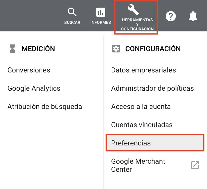 Informes de marketing - Preferencias de Google Ads