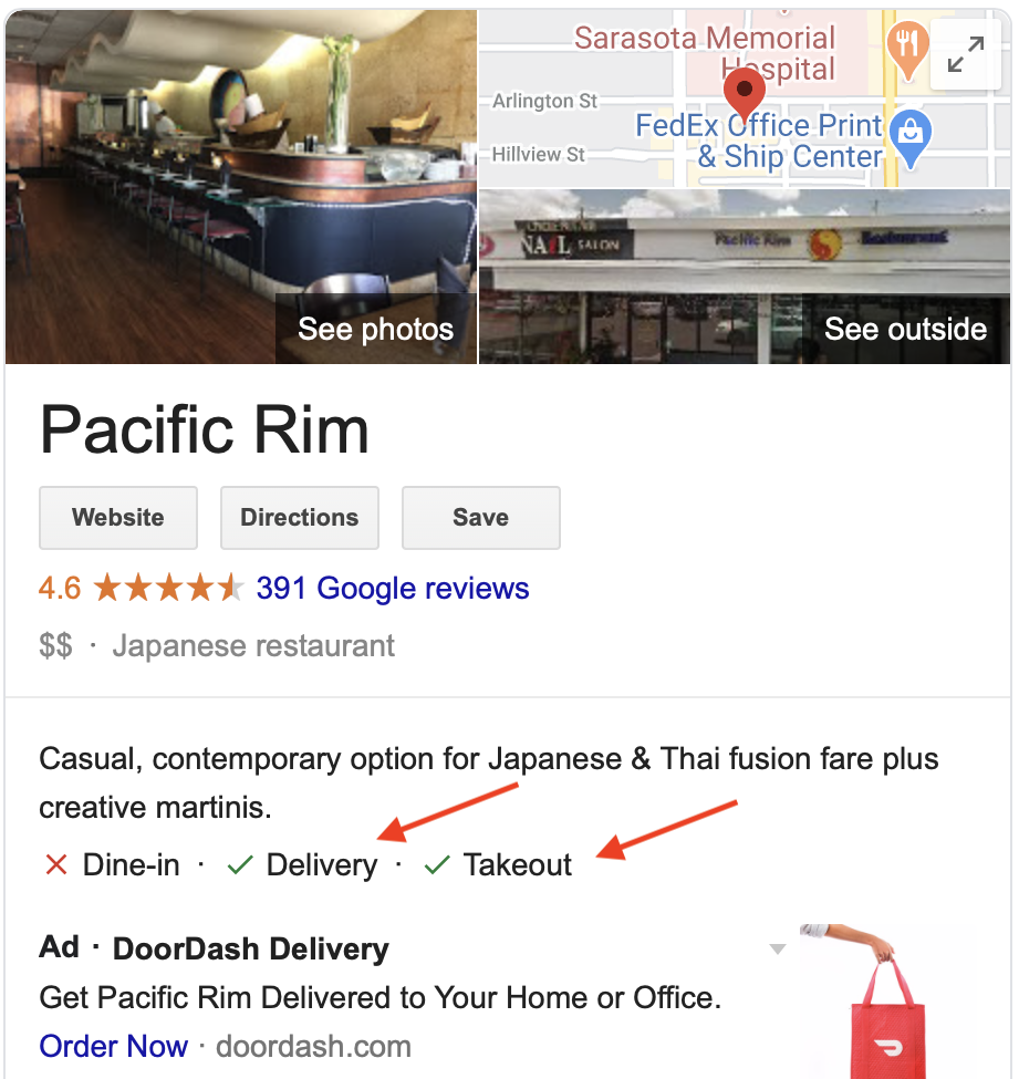 Restaurant in Google Search with delivery and takeout labels