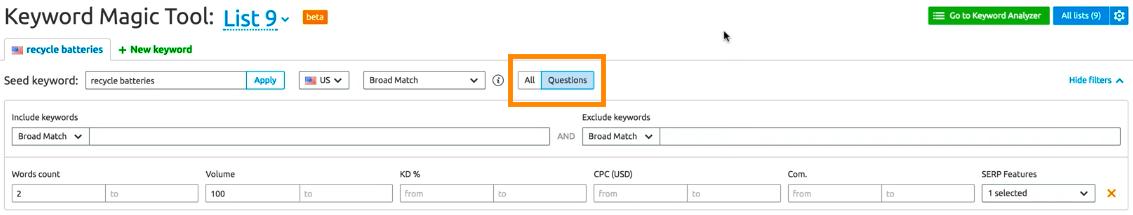 Questions filter in SEMrush Keyword Magic Tool