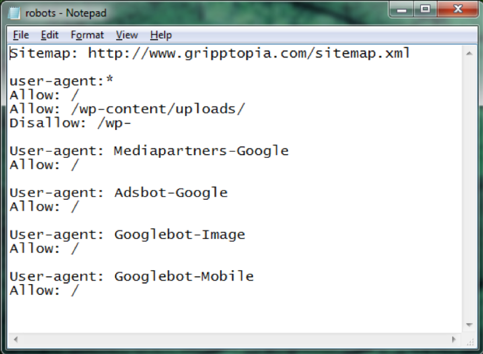 An image of a basic robots.txt notepage file