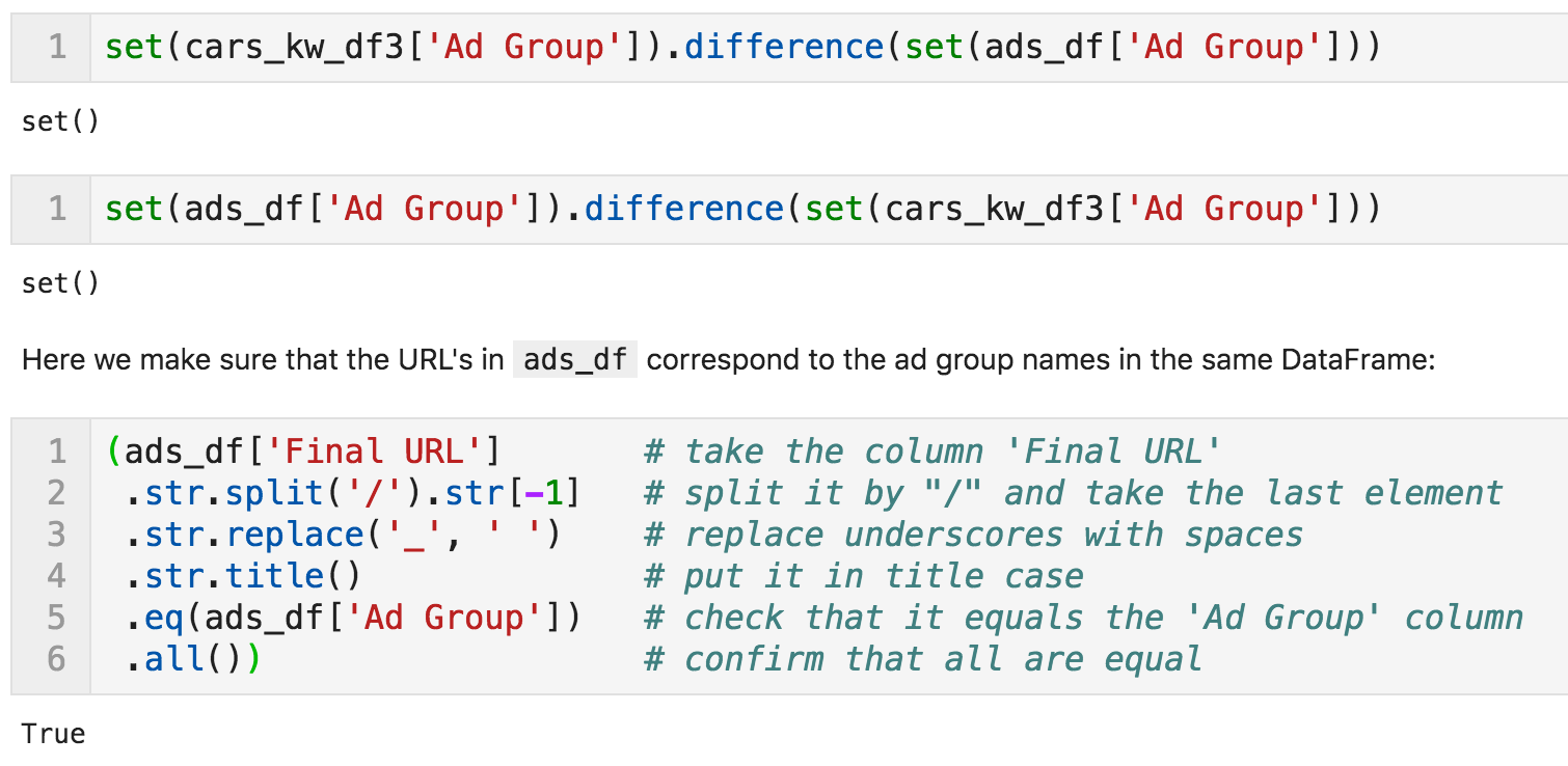 Verifying the correct mapping keywords > ads > landing pages