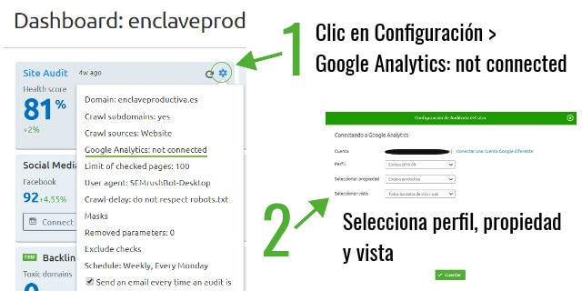 Conecta analytics & Google search console & SEMrush - Site audit