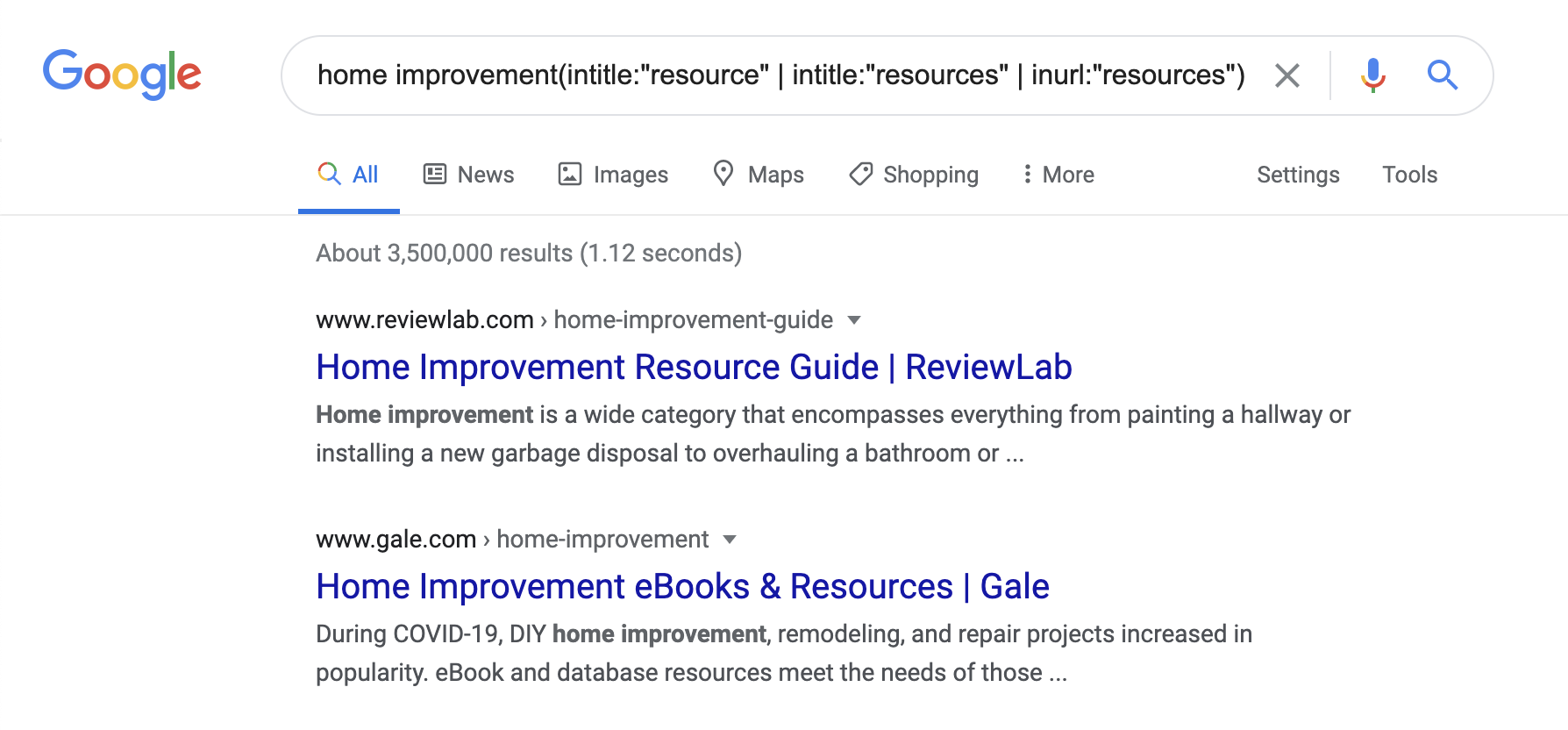Google Search Operators example screenshot