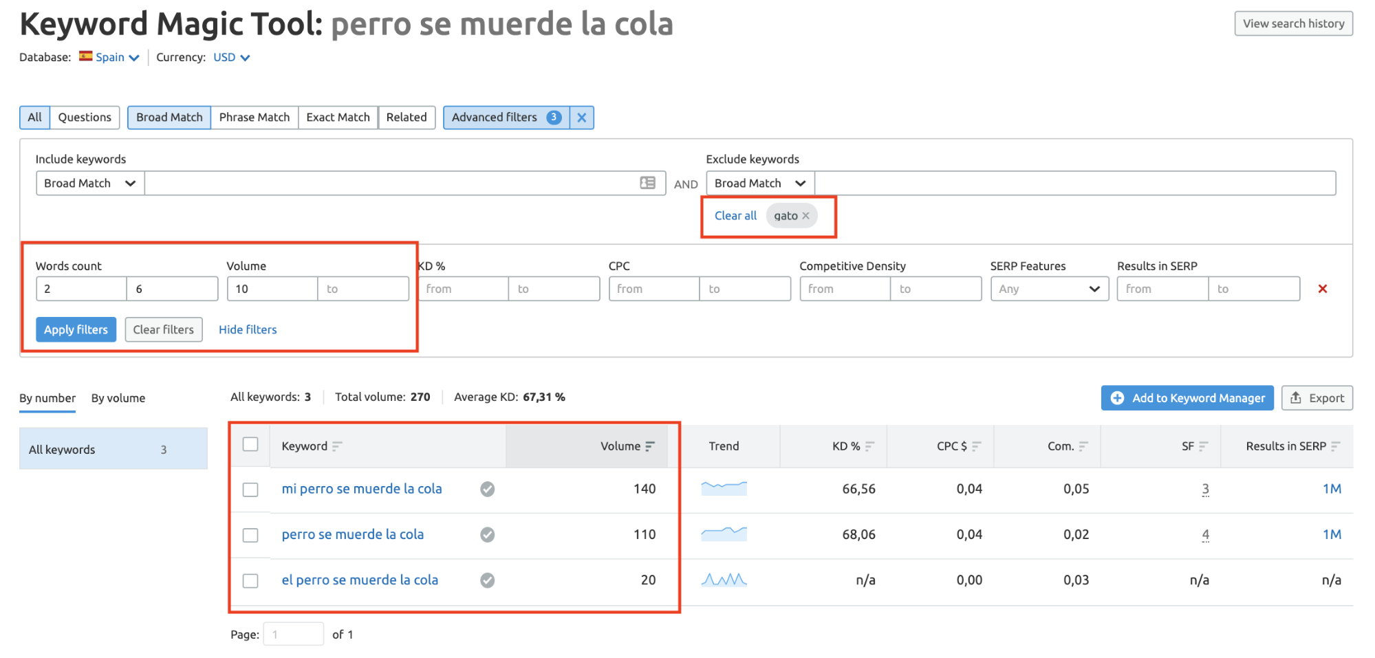 Buscar palabras clave con SEMrush Keyword Magic tool - Aplicar filtros