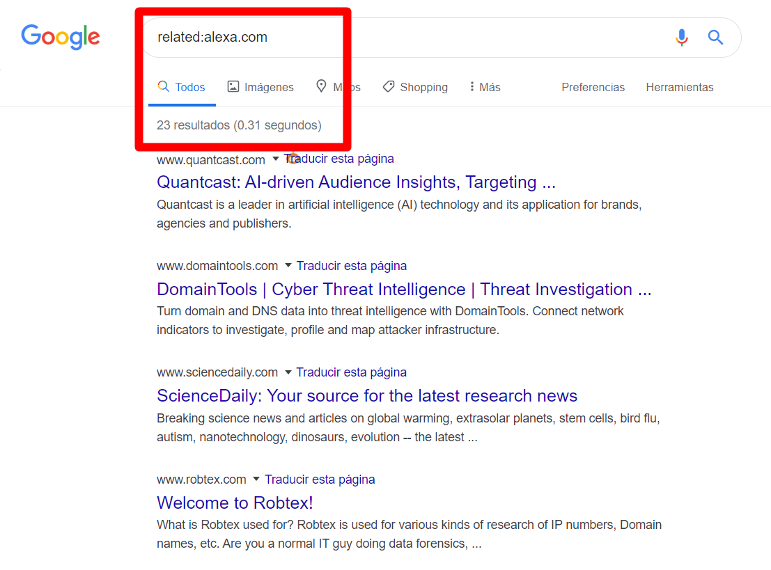 Linkbuilding de calidad - Footprint Related to en Google