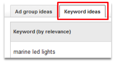 Keyword Ideas Tab