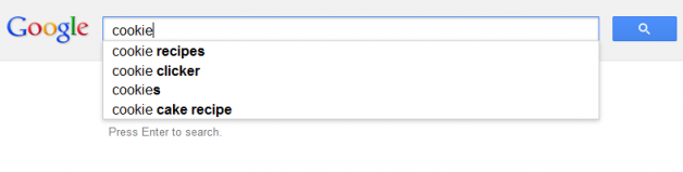 Google suggestions for cookie