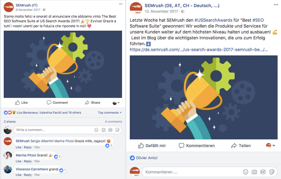 social reactions semrush