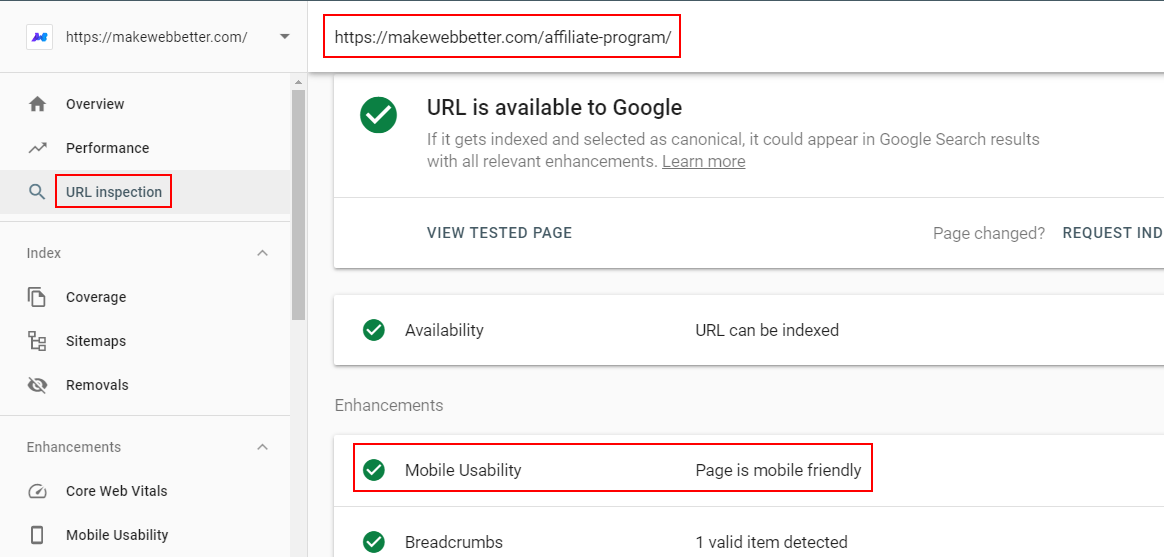 URL inspection tool results from Google Search Console