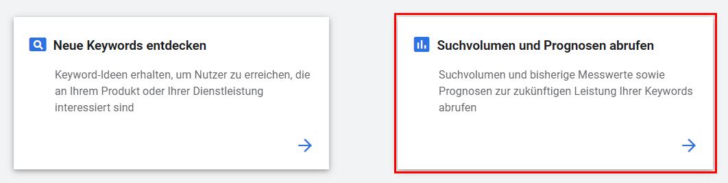 Google Ads Keyword-Planer: Suchvolumen und Prognosen abrufen