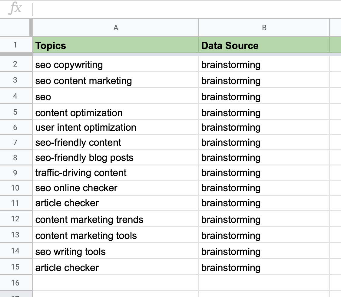 Plan de contenidos - Tabla fuente de datos