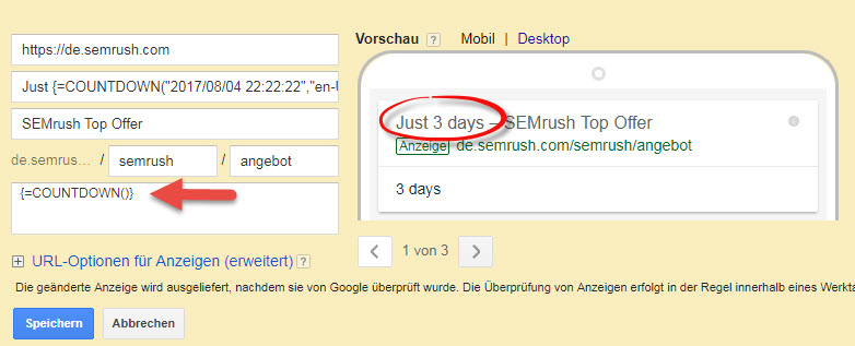 Google Ads Count-Down-Funktion