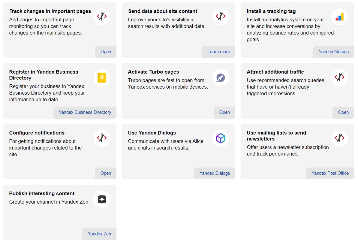 Yandex-Empfehlungen in den Webmaster Tools