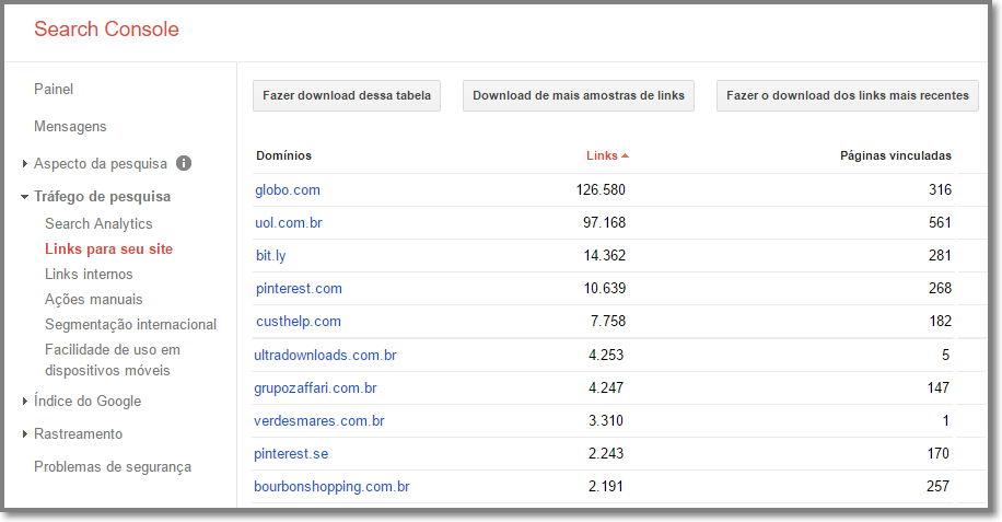 Relatório de Backlinks do Search Console