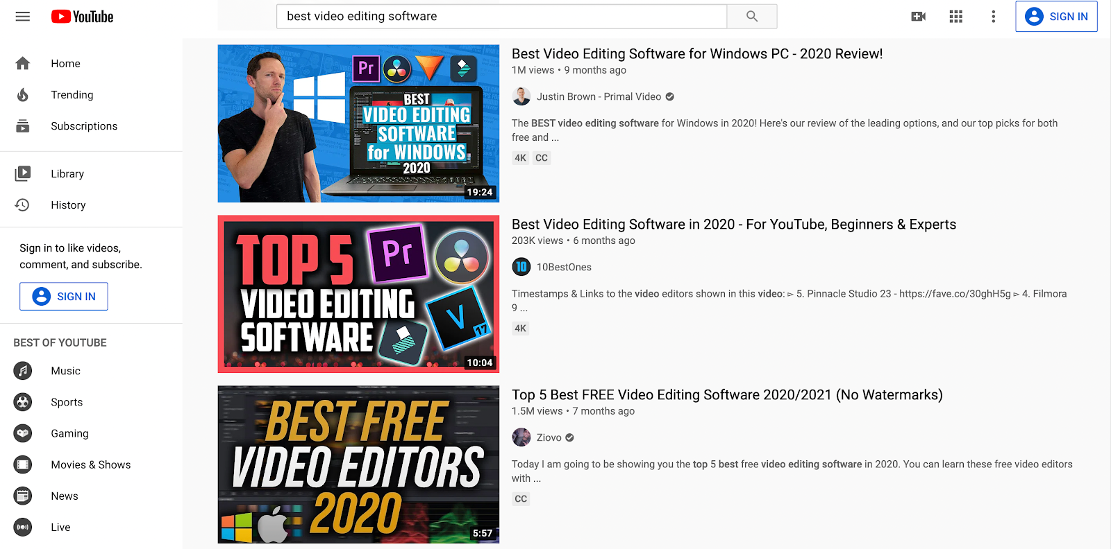 YouTube best video editing software screenshot