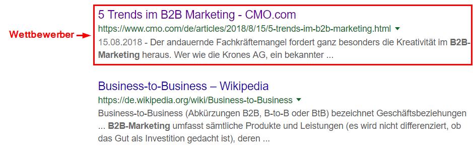 Google-Suchergebnis für 'B2B Marketing'
