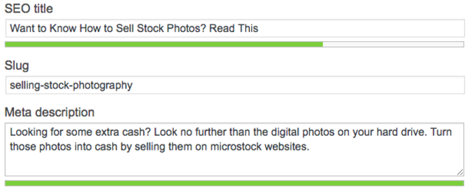 Our web producer and writer set basic on-page optimization for a post about stock photography.