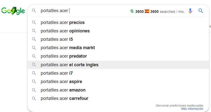 Qué es un keyword research - Sugerencias de Google