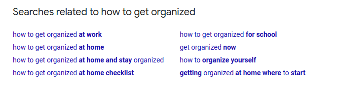 related searches on google serp