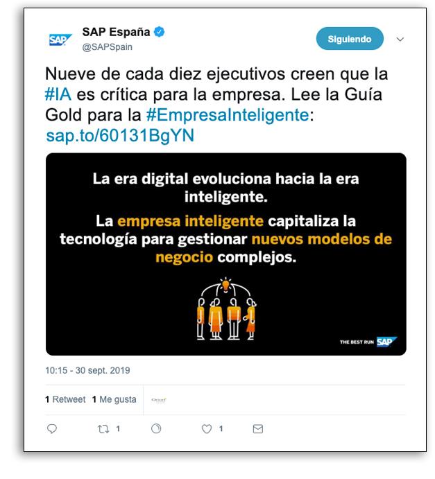 Presencia visual en redes sociales - Ejemplo SAP