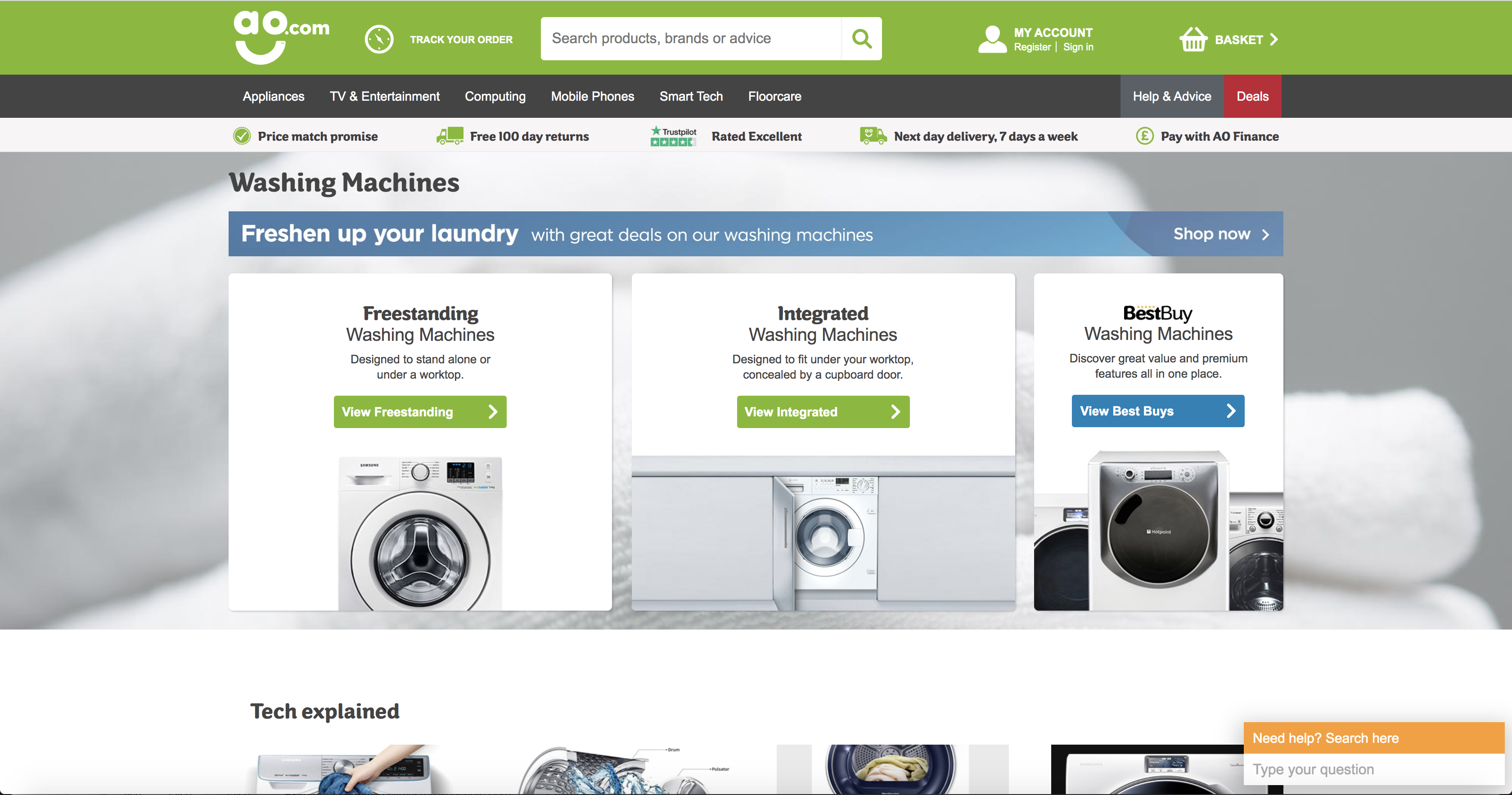 AO.com Washing Machines Category