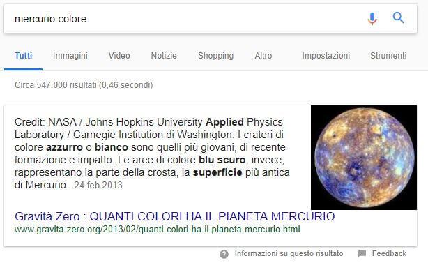 Esempio funzionamento motore di ricerca semantico: SERP mercurio colore