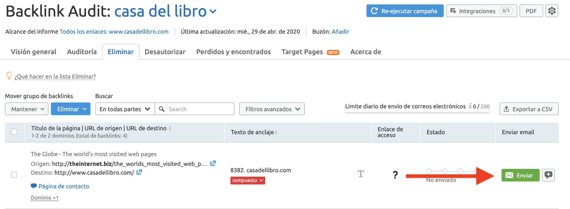 Analizar backlinks y enlaces SEO - Enviar correos