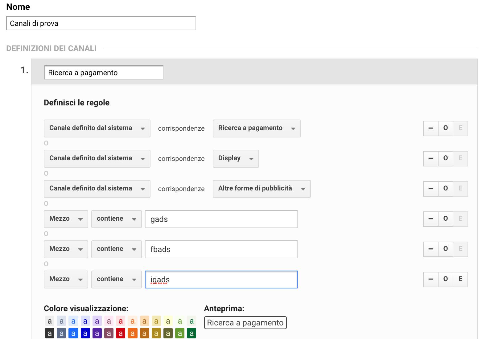 Come si raggruppano canali su Google Analytics