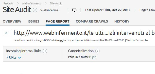 Contenuti duplicati: Analisi del crawling con Site Audit di SEMrush