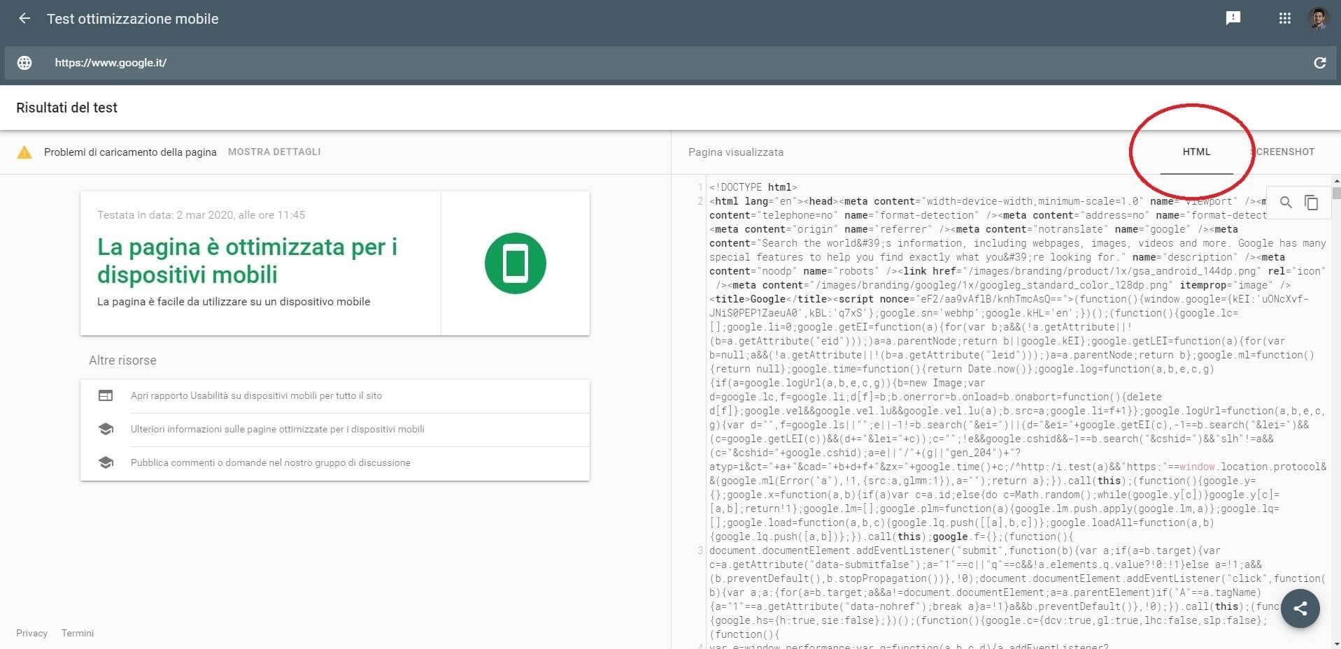 Come vede google il tuo html (Test mobile di google)