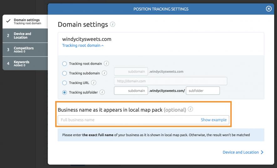 Nome dell'attività nella configurazione di Position tracking