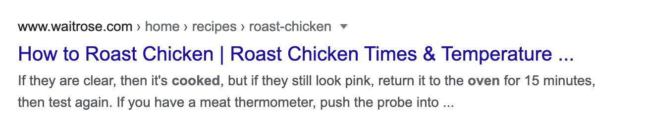 how to roast chicken serp result
