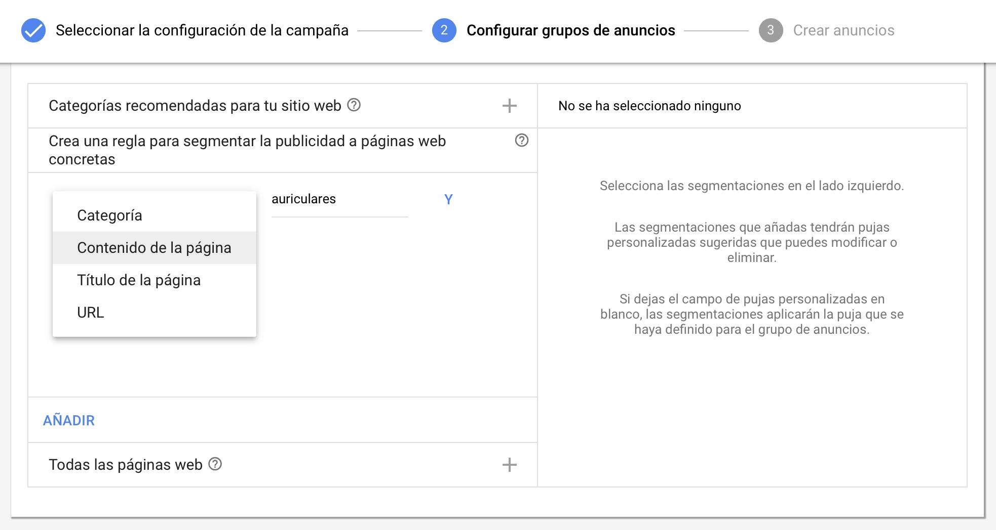 Anuncios dinámicos de búqueda - Configuracion - Opción alternativa