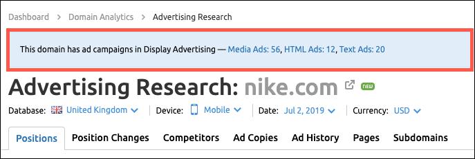 Actualizaciones top de SEMrush - Investigación de publicidad