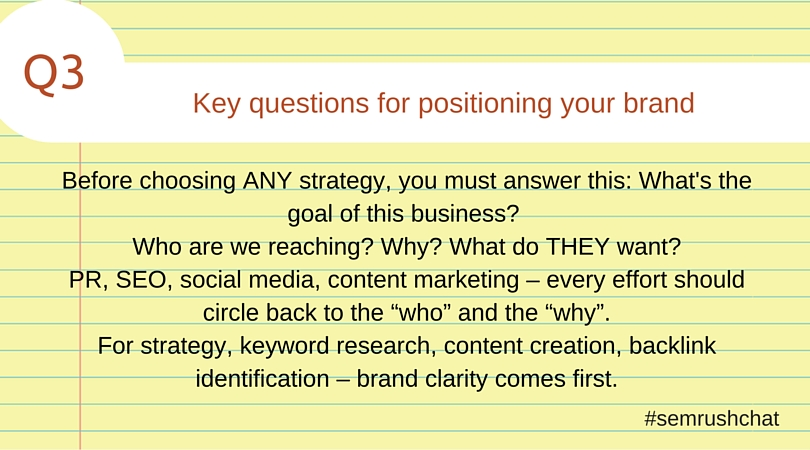 Key questions for positioning your brand