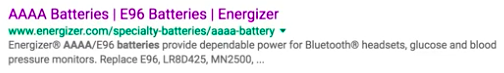 Energizer has no featured snippet: rating