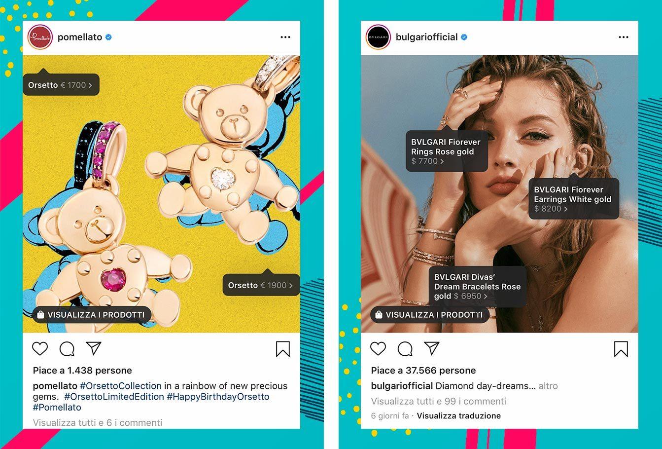Esempi Instagram Shopping gioielli