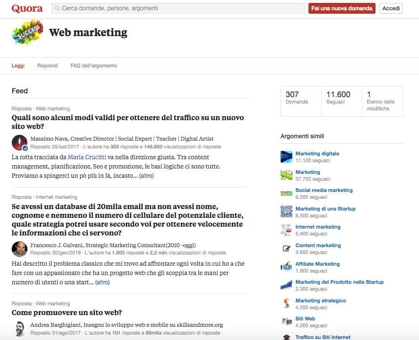 Uso di Quora in Italia. Sezione dedicata al web marketing