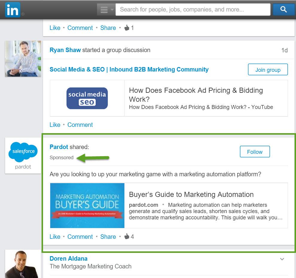 Good LinkedIn Native Ad Example