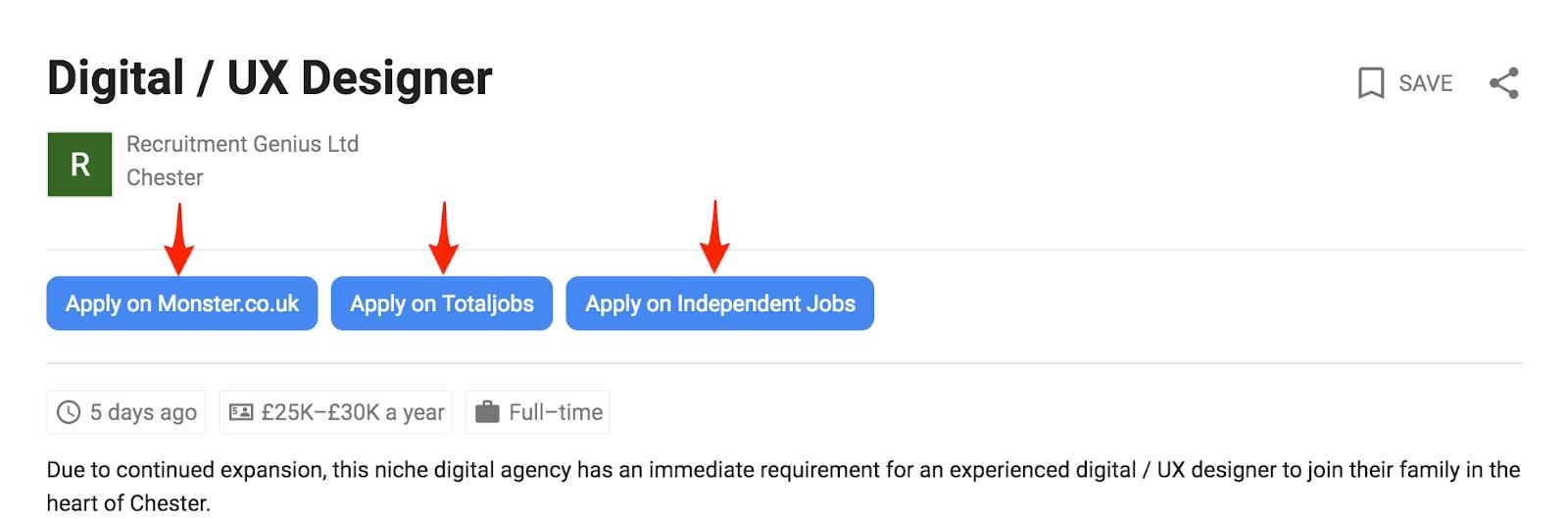 multiple job listings in google for jobs