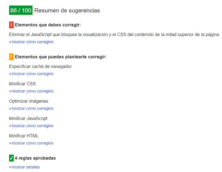 Google page speed test - Sugerencias de usabilidad